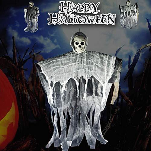 WISREMT Puntelli per decorazioni di Halloween, Scary Ghost Festival Tessuto Testa di cranio Lino Strega Appeso Galleggiante scheletro Fantasma Volare Fantasma per la festa a casa Bar