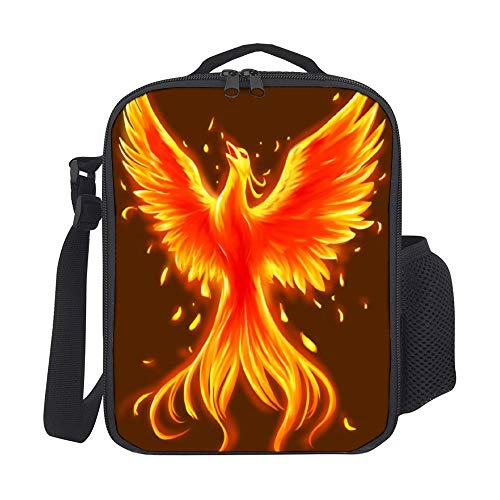 SARA NELL Kids Lunch Backpack Lunch Box Fire Phoenix Lunch Bag Large Lunch Boxes Cooler Meal Prep Lunch Tote With Shoulder Strap For Boys Girls Teens Women Adults