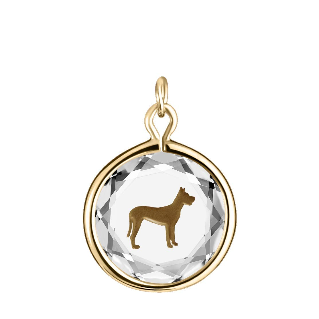 LovePendants Engraved and Enameled Swarovski Crystal Great Dane Pendant//Necklace in Sterling Silver