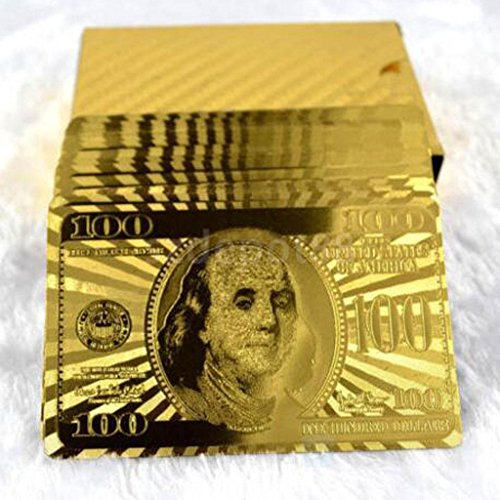 Quality Playing Cards 24K Gold Leaf Dollar Design Full Deck Poker Party Play by uptogethertek