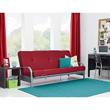 Amazing Mainstays Metal Arm Futon With 6 Mattress Ruby Red Home Furniture Bedroom Sofa Sleeper Economical Design Metal Arm Futon Contains 50 Evergreenethics Interior Chair Design Evergreenethicsorg