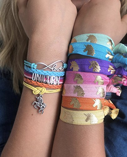 Unicorn Gifts, Hair Ties and Charm Bracelet - No Crease Elastic 7pc Hair Ties and Handmade Rainbow Wristband Matching Set and Bag - Jewelry For Women, and Teen Girls - Party Supplies, Favors, and Toys
