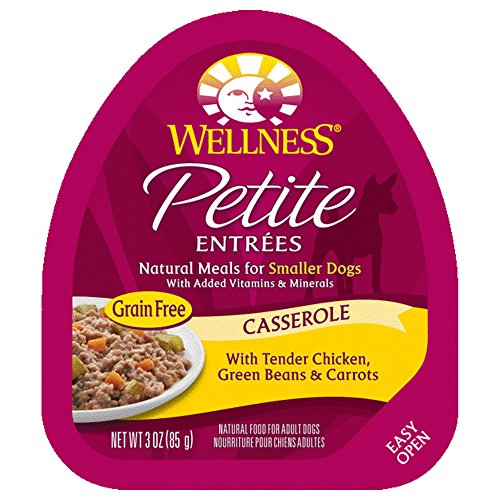 Wellness Petite Entrees Casserole Natural Grain Free Wet Small Breed Dog Food, Tender Chicken, 3-Ounce Cup (Pack of 24)