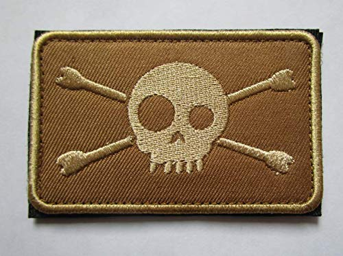 (Pirate Skull Jolly Roger Crossbones Military Patch Fabric Embroidered Badges Patch Tactical Stickers for Clothes with Hook & Loop (color2))
