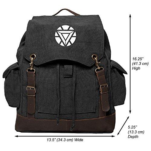 Iron Man Heart Vintage Canvas Rucksack Backpack with Leather Straps, Black & - Man Rucksack Iron