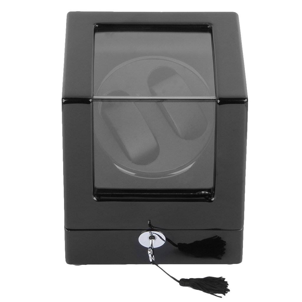 watches watch winders excelvan rectangle mute automatic double watch winder lock dual watch rotator watch storage box