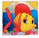 YChoice Educational Puzzle Kids Wooden Six Sides Puzzle Safe Education Learning Toy Fantastic Gifts Kids(Fish)