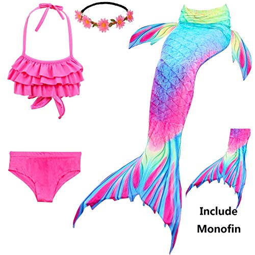 233c5f29c4d40 Familycrazy 2019 New Girls Swimsuit Mermaid Tails for Swimming Princess Bikini  Bathing Suit Set Include Monofin