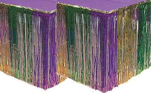 Fun Express Mardi Gras Metallic Fringe Table Skirt (2 PACK) (2) ()