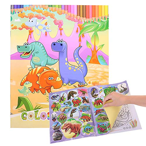 Euone  Coloring Book, Cute Dinosaur Style Secret Garden Drawing Children's DIY Puzzle Kids Gifts