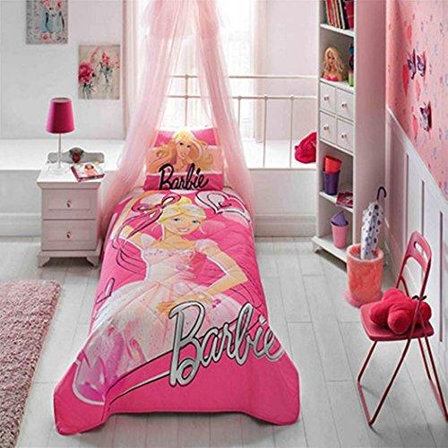 (%100 Cotton Disney Barbie Ballerina Kid's Bedspread Set Single / Twin Size Kids Bedspread )