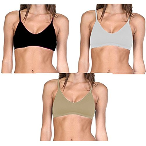 Seamless Bralette (Popular Women's Seamless Convertible V-Neck Padded Wire Free Bra - 3 pack (Black, Nude and White) One Size)