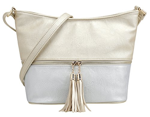 (DELUXITY Medium Size Hobo Crossbody Bag with Tassel/Zipper Accent (Gold/Silver))