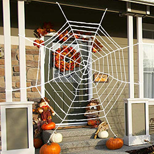 Binca Vidou Giant Halloween Spider Web Décor for Trick-or-Treaters, 13 ft Super Stretch Realistic Cobweb for Halloween Party Indoor Outdoor Window Yard Porch Haunted House Decoration White -