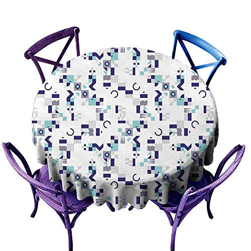 ScottDecor Mid Century Printed Tablecloth Art Deco Inspired Pattern from Seventies with Geometrical Shapes Modern Round Tablecloth Turquoise Navy Blue Grey Diameter 60