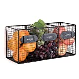 Free Standing Black Metal Wire 3 Bin Kitchen Pantry Organizer Basket, Mail Sorter w/Chalkboard Labels