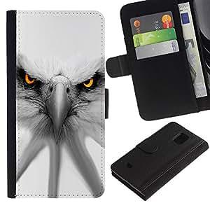 Samsung Galaxy S5 Mini / SM-G800 (Not For S5!!!) , la tarjeta de Crédito Slots PU Funda de cuero Monedero caso cubierta de piel ( Eagle White Patriotism America Symbol)