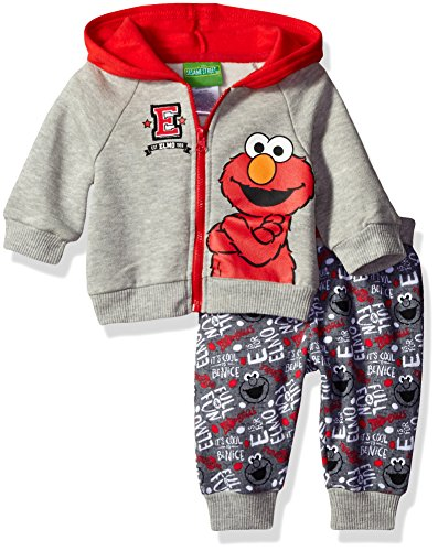 Sesame St Baby Boys' 2 Piece Elmo Costume Hoodie With Printed Jogger Pant, Grey, 3/6 (Elmo Infant Costume)