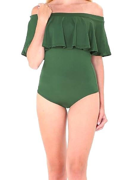 3f4c5fb979f Vska Womens Strapless One Piece Ruffled Bodysuit Sexy Bikini Swimwear Army  Green XS