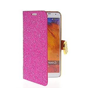 SHOPPINGBOX Chrome Glitter Skin Wallet Card Holder Pouch Etui Flip Leather Case Cover For Samsung Galaxy Note 3 N9000 Hotpink