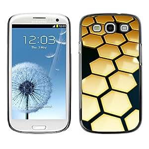TopCaseStore / la caja del caucho duro de la cubierta de protección de la piel - Hive Gold Black 3D Hexagon - Samsung Galaxy S3 I9300