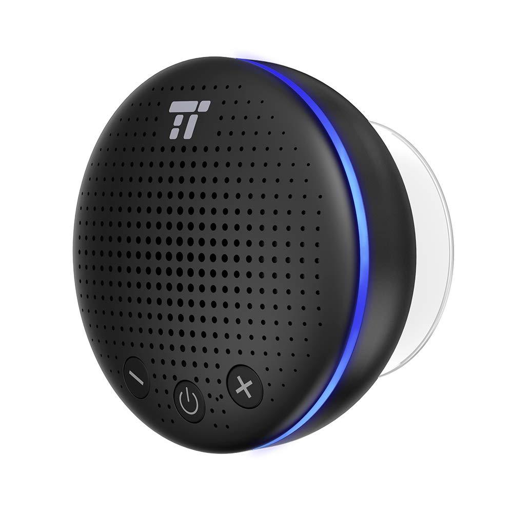 Altavoz Bluetooth Ducha, TaoTroncis Altavoz Inalambrico Portátil con LED y Ventosa IPX7 Impermeable, Micrófono