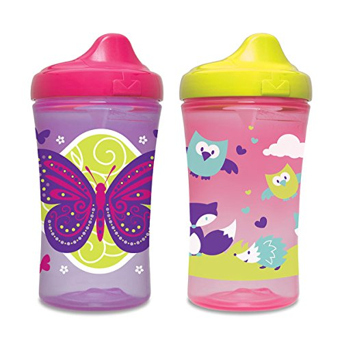 Gerber Graduates Advance Developmental Hard Spout Sippy Cup in Girl Colors, 10-Ounce, 2-Pack (Color and design may vary)
