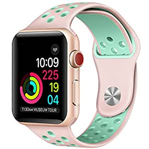 For Apple Watch Band 38mm Soft Silicone Replacement Band for Apple Watch Series 3, Series 2, Series 1, Sport , Edition, M/L Size ( Pink/Green)