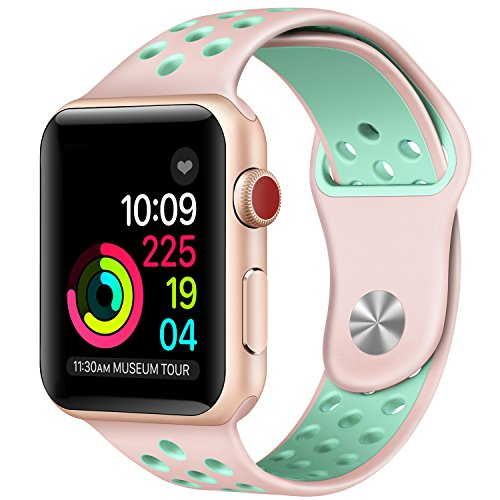 Apple Watch Band , Soft Silicone Sport Replacement Strap for Apple iWatch Series 1 2 3 Sport & Edition (Pink/Mint Green 38mm - Pink Green