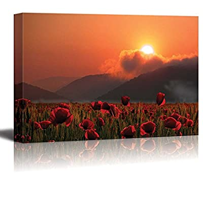 Canvas Prints Wall Art - Summer Poppies Field at Sunset - 24