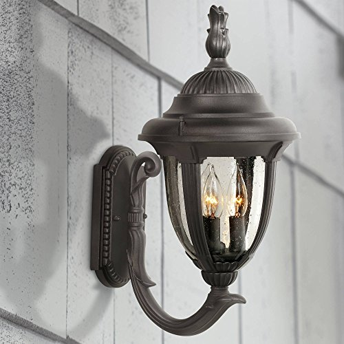 Casa Sierra Traditional Outdoor Wall Light Fixture Carriage Style Upbridge Black 19 1/8