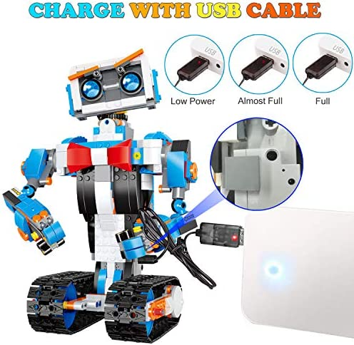 51TFisJx jL. AC  - okk STEM Robot Building Block Toy for Kids, Remote and APP Controlled Engineering Science Educational Assembling Learning Kits Intelligent Rechargeable Creative Set for Boys Girls Gift (635 Pieces)