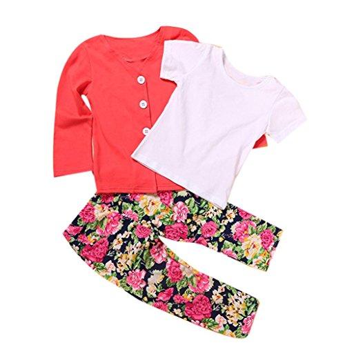 YANG-YI 2017, Autumn Winter Toddler Girls Outfits Long Sleeve T-Shirt Tops+Coat+Pants (Red, 90cm/3T) ()