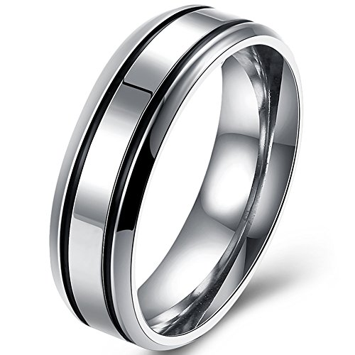 Mens Couple Rings 6MM Stainless Steel Love Promise Enternity Wedding Bands for Boyfriends or Husband Size 9