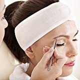 (3 Count) White Elastic Terry Cloth Spa Headband - Single Velcro Closure Stretch Towel Washable Facial Band Makeup Wrap Headbands Fits All Head Sizes (4 Inch Wide X 25 Inch Long, When Stretched)