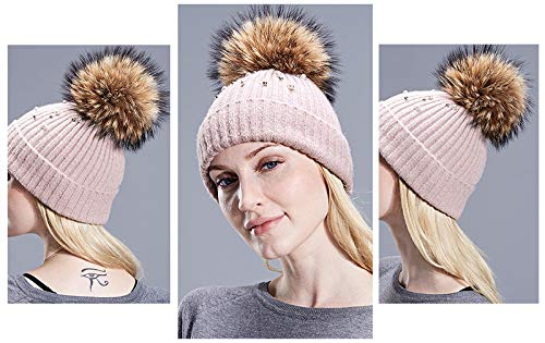 bccc885fcbf Real Natural Fur Pearl Knitted Hat Girls Female Beanie Cap Pompom Winter  Hats at Amazon Women s Clothing store