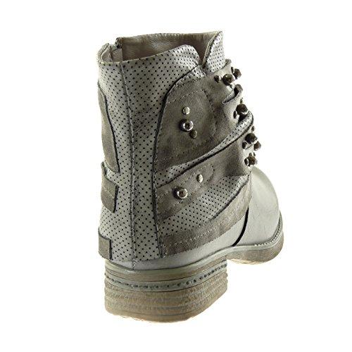 Perforé Femmes Ligne Gris Cloutés Pour Chaussures Motard Mode Bottines Talon Cm Butin Bloc Angkorly 3 Cavalier qExzgx1
