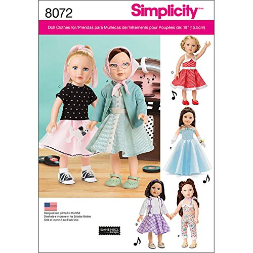 (Simplicity Patterns Vintage Inspired 18 Inch Doll Clothes Size: Os (One Size), 8072)