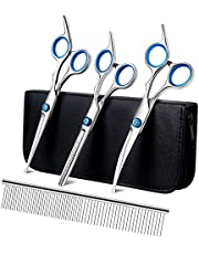 Playmont Pet Grooming Scissors Set with Safety Round Tip, Cat Dog Grooming Scissors Kit Include Thinning Scissors Curved Scissors Straight Scissors and Grooming Comb for Dog Cat Hair Care
