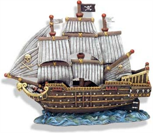 Exotic Environments Skull and Crossbones War Ship Aquarium Ornament, 12-Inch by 5-Inch by 10-Inch