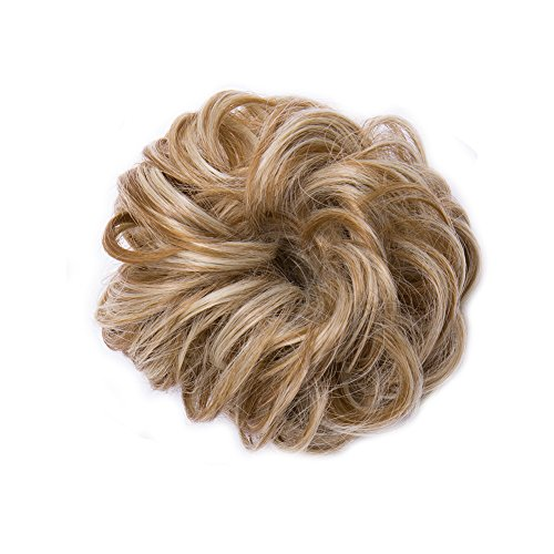 Scrunchy Updo Wavy Straight Hair Bun Clip Messy Donut Chignons Synthetic Hairpiece Hair Extension light ash brown amp bleach blondethicker