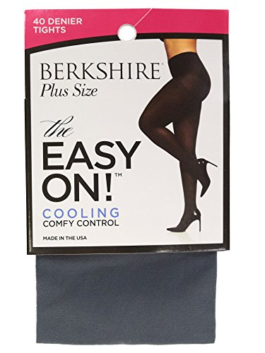 Berkshire Women's Easy On 40 Denier Plus Size Tights, Grey Metal -