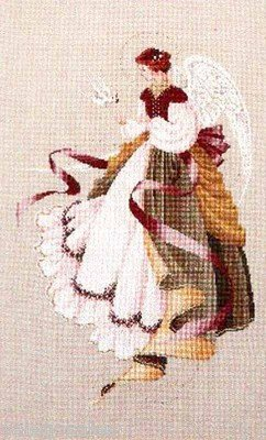 Cross Lace Stitch - Lavender & Lace Counted Cross Stitch Chart Pattern - Angel Of Grace