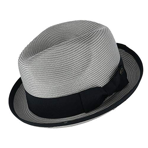 (Epoch Hats Company Men's Fedora with Contrast Band and Trim, Small/Medium, Grey)