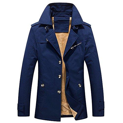 Finrosy Men's Trench Coat Slim Fit Breasted Jacket Notch Lapel Single Breasted Windbreaker Outdoor Jacket(Navy,3XL)