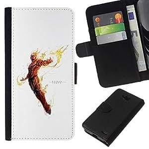 All Phone Most Case / Oferta Especial Cáscara Funda de cuero Monedero Cubierta de proteccion Caso / Wallet Case for LG OPTIMUS L90 // Human Torch