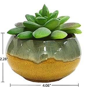 happimer cerámica que fluye esmalte maceta Cactus suculentas maceta macetero recipiente maceta Bonsai macetas con un agujero
