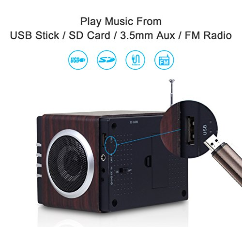 August MB300 Mini Wooden MP3 Stereo System and FM Clock ...