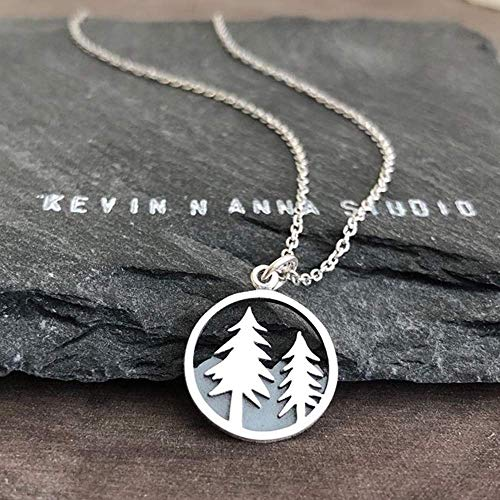 Sterling Silver Tree and Mountain Pendant Necklace, 18