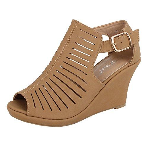 TOP Moda Women's Gladiator Open Toe Wedge Tan 7.5